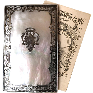 Antique Nineteenth Century French Mother of Pearl Carnet De Bal with Silver Overlay