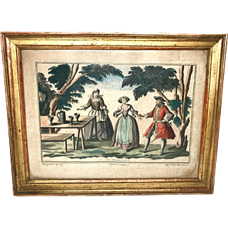 Rare Antique French Framed Eighteenth Century Copperplate Hand Colored Engraving by Engelbrecht : L'Opera Comique