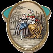 Antique Nineteenth Century French Eglomise Bonbonniere Fixe Sous Verre