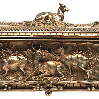 Magnificent Cast Bronze Antique French Empire Era Rectangular Box Signed Leopold Oudry