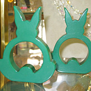 Vintage Pair True Green Bakelite Standing Rabbit Napkin Rings