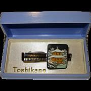 Vintage Toshikane Japanese Silver Porcelain Tie Bar Clip Original Box