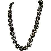 Vintage Carved Black And Cream Celluloid Early Plastic Necklace
