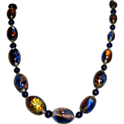 Vintage Blue Venetian Glass Opalescent Foil Bead Necklace
