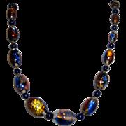 Vintage Blue Venetian Glass Opalescent Foil Bead Necklace
