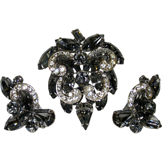 Vintage Weiss Black Diamond Brooch Earrings Set