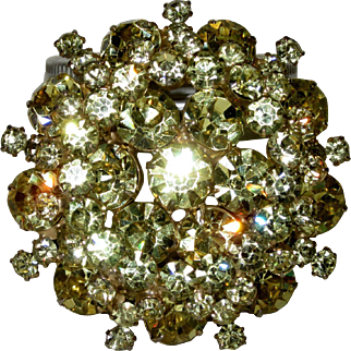Juliana DeLizza & Elster Jonquil Yellow Rhinestone Brooch