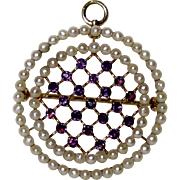 Fine 14K Gold Amethyst And Seed Pearl Brooch Pendant