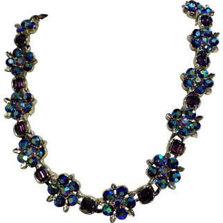 Vintage Lisner Purple Rhinestone Necklace