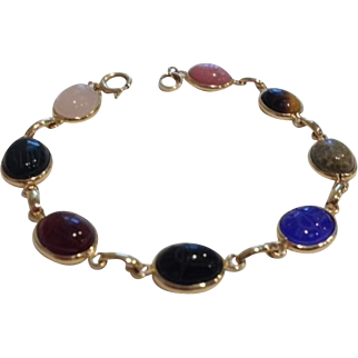 14K Gold Semi Precious Eight Stone Scarab Bracelet