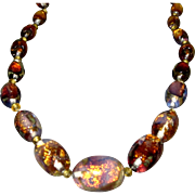 Venetian Opalescent Foil Vintage Glass Necklace