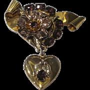 Vintage Sterling Faux Amethyst Locket Brooch
