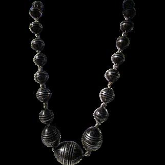 Vintage Ebony Silver Inlaid Bead Necklace