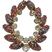 Juliana DeLizza and Elster Red Millefiore Brooch