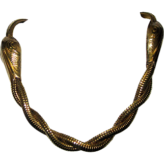 Vintage Snake Heads Choker Necklace