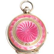 Vintage Austrian Silver Pendant Pink Guilloche Enamel Compact with London Sterling Silver Import Hallmarks