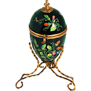 Palais Royal 1850 Jewellery Egg  Forest Green Glass Enamel Decorations Flowers Butterflies Bees Dragonfly Ladybirds Ormolu Stand