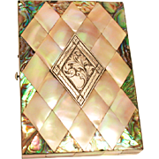 1860 French Business Card Case Carte de Visite or Calling Card Mother of Pearl Silver