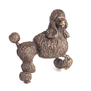 Cast Bronze Poodle Dog Figure Signed by Artist Miniature