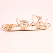 Vintage 4 Piece Dolls Miniature Tea and Coffee Set Sterling Silver