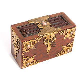 1840 Ladies Personal Journal Diary Book Safe Keep Box Cherub Enamel decorations Burr Walnut