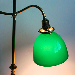 Antique French 1910 Writing Bureau Electric Lamp Desk Light Overlay Glass Shade Adjustable Working Order