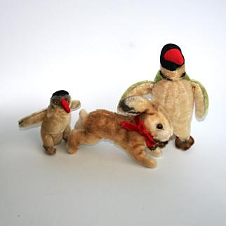 Vintage Steiff Toys 2 x Peggy The Penguin Hoppy Rabbit Mohair dated 1949 and 1959