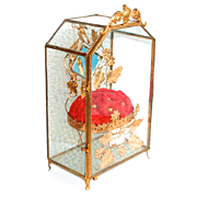 1860 Napoleon III Palais Royal Globe De Mariee Antique French Glass 8 Sided Box with Jewellery Display Stand