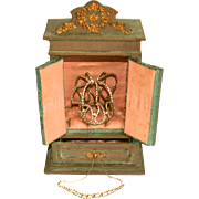 Antique French Fashion Doll Armoire with Tiara and Necklace Bevelled Mirrors Miniature Paintings Gilded Decorations Silk Lined