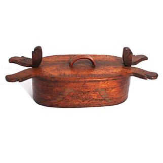 Antique Scandinavian Viking Tine Treen Wood Box Poker Work with Inscriptions 1800
