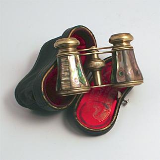 1890 Opera Glasses Rare Variegated Green Abalone Shell