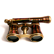 Antique Lorgnette Opera Glasses by Iris of Paris dated 1870 Rare Gold Iridescent Abalone Shell