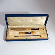 1850 French Enamel Gold Gilt Writing and Seal Set in Original Leather Case