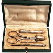 Antique French 1870 Silver Sewing Necessaire Leather Case Set Scissors Thimble Needle Case Stiletto Bodkin