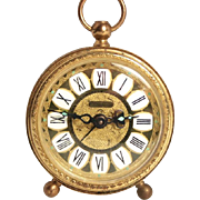 Vintage 1960 Blessing Alarm Clock Enamel and Brass Filigree with Luminous Hands and Dial Markings