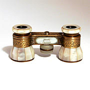 Vintage Art Deco Opera Glasses Signed by Luxury Maker's  Emil Busch Rathenow Mother of Pearl and Etched Brass S817