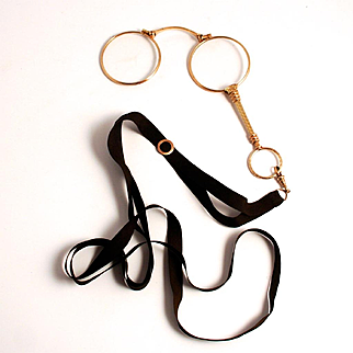 1900 Antique French Gold Fill Lorgnette with Slider Ribbon Eye Glasses with Handle