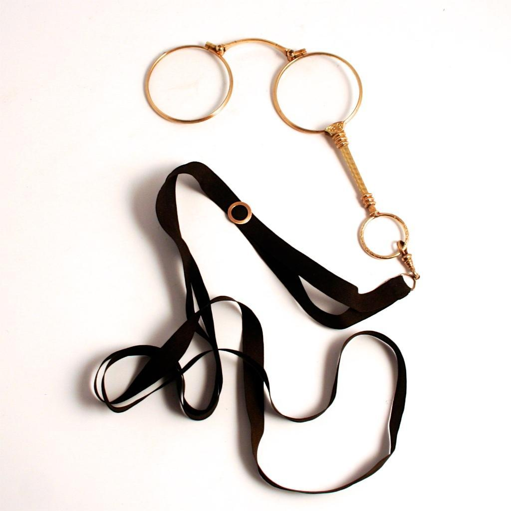 1900 Antique French Gold Fill Lorgnette with Slider Ribbon Eye Glasses with Handle S817