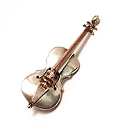 Vintage Classical Cello Brooch Jewellery Silver by Hubert Harmon 1941 Mexico 925 Sterling S817