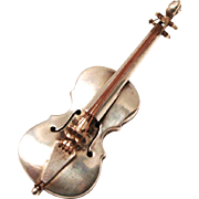 Vintage Classical Cello Brooch Jewellery Silver by Hubert Harmon 1941 Mexico 925 Sterling