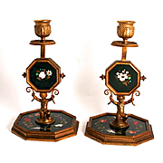 1860 A Pair of Pietra Dura Bronze Candlesticks Grand Tour Florence in Italy Inlay Precious and Semi Precious Stones