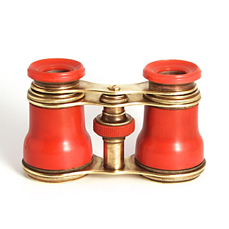 Antique Victorian English Opera Glasses Orange Red Color 1880 Celluloid