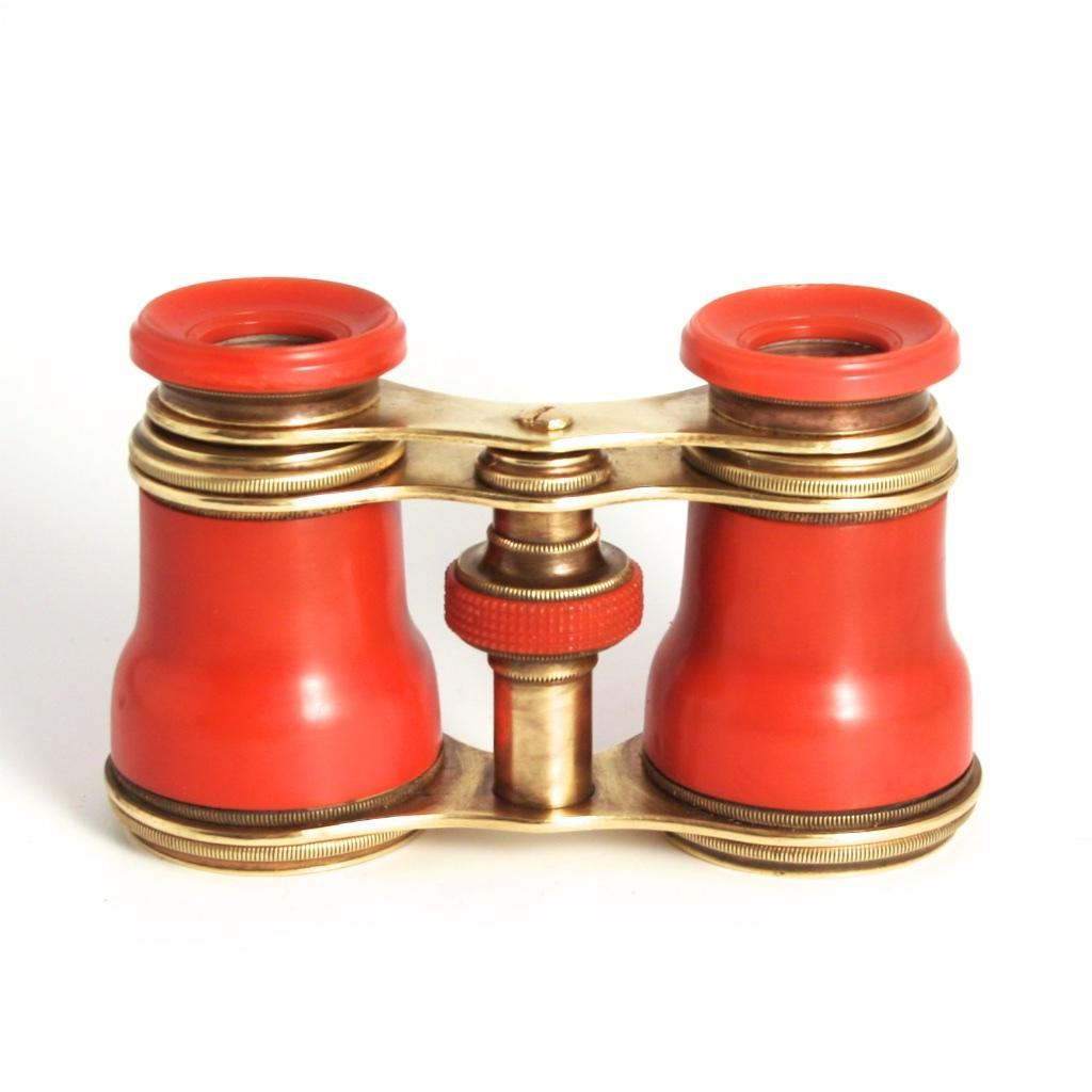 Antique Victorian English Opera Glasses Orange Red Color 1880 Celluloid S817