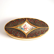 Art Nouveau French Dressing Table Box with Miniature Hand Painted Picture and 80 Opaline Glass Cabochons S817