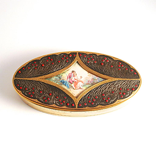 Art Nouveau French Dressing Table Box with Miniature Hand Painted Picture and 80 Opaline Glass Cabochons