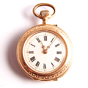 Art Nouveau 14 Karat Gold Swiss Hallmarked Ladies Fob watch pendant