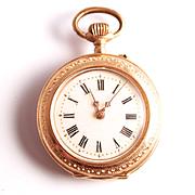 Art Nouveau 14 Karat Gold Swiss Hallmarked Ladies Fob watch pendant