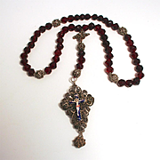 18C Antique Rare Rosary Prayer Beads German Silver with Enamel Crucifix  and Ruby Glass Beads