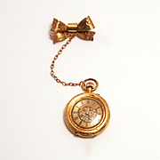 Antique Swiss 14 Karat Gold Ladies Enamel Fob Watch with Bow and Chain