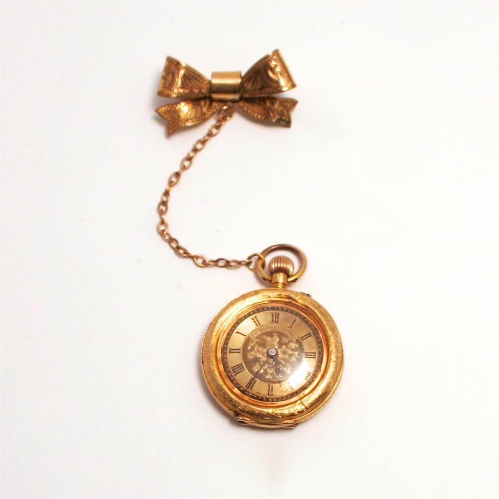 Antique Swiss 14 Karat Gold Ladies Enamel Fob Watch with Bow and Chain S817